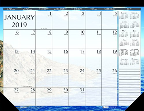 (House of Doolittle 2019 Monthly Desk Pad Calendar, Seascape, 18.5 x 13 Inches, January - December)