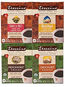 Teeccino Coffee Alternative Variety Pack - 10 Tee-Bags of each - Chocolate, French Roast, Hazelnut and Vanilla Nut