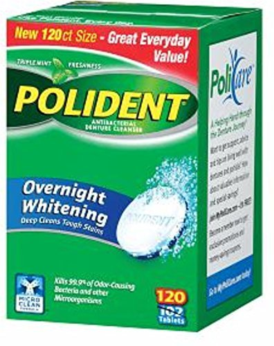 Polident Overnight Whitening, Antibacterial Denture Cleanser, Triple Mint Freshness 120 ea (Pack of 5)
