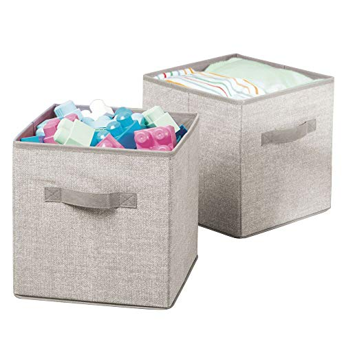 mDesign Soft Fabric Closet Storage Organizer Bin Box - Front Handle, for Cube Furniture Shelving Units Bedroom, Nursery, Toy Room - Textured Print - Small, 2 Pack - Linen/Tan (Dark Tan Linen)