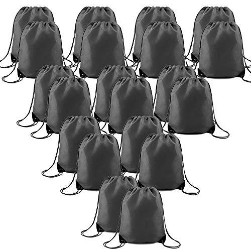 Black Drawstring Bags Bulk 20 Pcs Lightweight yet Sturdy Custom String Gym Backpacks Fabric Sports Cinch Sack for Traveling Party