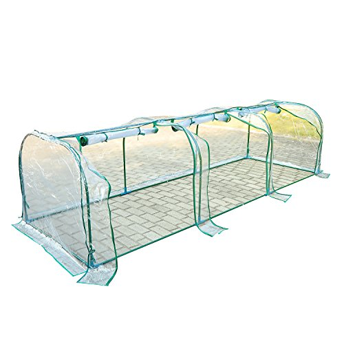Outsunny Large Transparent PVC Tunnel Greenhouse Green Grow House Steel Frame 300x100x80cm