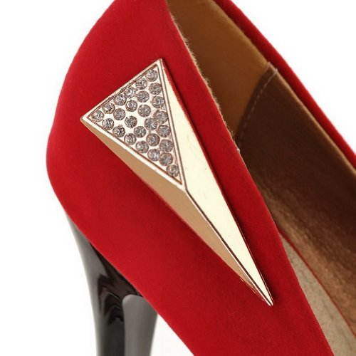 Round Toe 5 Frosted Heel Solid VogueZone009 Womans Pumps 5 Suede Closed High UK Red q1wEnAt6