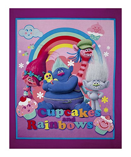 Dreamworks Trolls Cupcakes & Rainbows Character 36in Panel Pink Fabric By The Yard