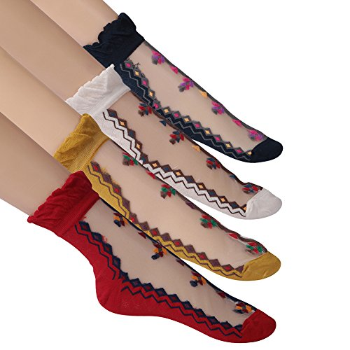 Short Summer Dress Socks Women, Funcat Girls Ladies Vintage Ruffle Cuff Ankle Boots See Through Sheer Socks with Lace Trim 4 (Floral Ruffle Socks)