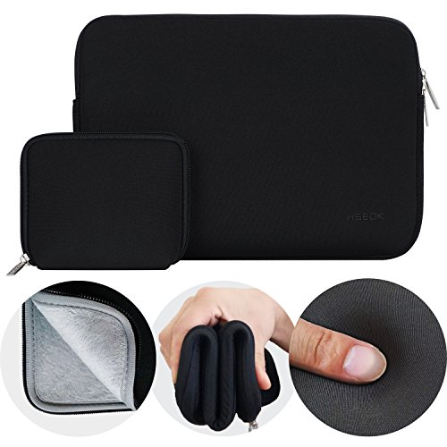 HSEOK-Ultra-Soft-13--133-Inch-Laptop-Sleeve-for-MacBook-Air-MacBook-Pro-129-iPad-Pro-with-Small-Case-for-MacBook-Charger-or-Magic-Mouse-Case-Bag-Cover-Black