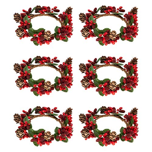 Alphatool Set of 6 Christmas Candle Ring- Red Artificial Berry Candle Rings with Pinecones Small Wreaths for Pillar Candle Rustic Wedding Centerpiece and Christmas Holiday Table Decoration (3 inch) (Centerpiece Wedding Christmas)
