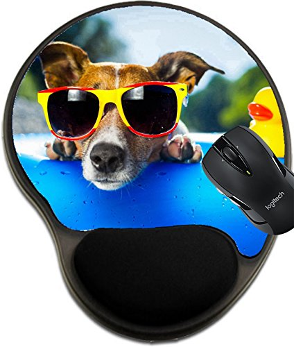 Price comparison product image MSD Mousepad Wrist Protected Mouse Pads/Mat with Wrist Support Dog on Blue air Mattress in Water Refreshing Image 21377313 Customized Tablemats Stain Resistance Collector Kit Kitchen Table Top DeskDr
