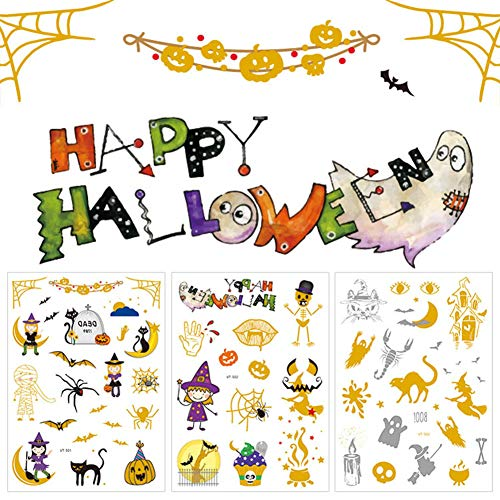 Alila Halloween Icons Tattoos - 72 (4 Sheets) Cute Design Temporary Tattoos for Halloween Party, Halloween Decorations for Kids and Youth -