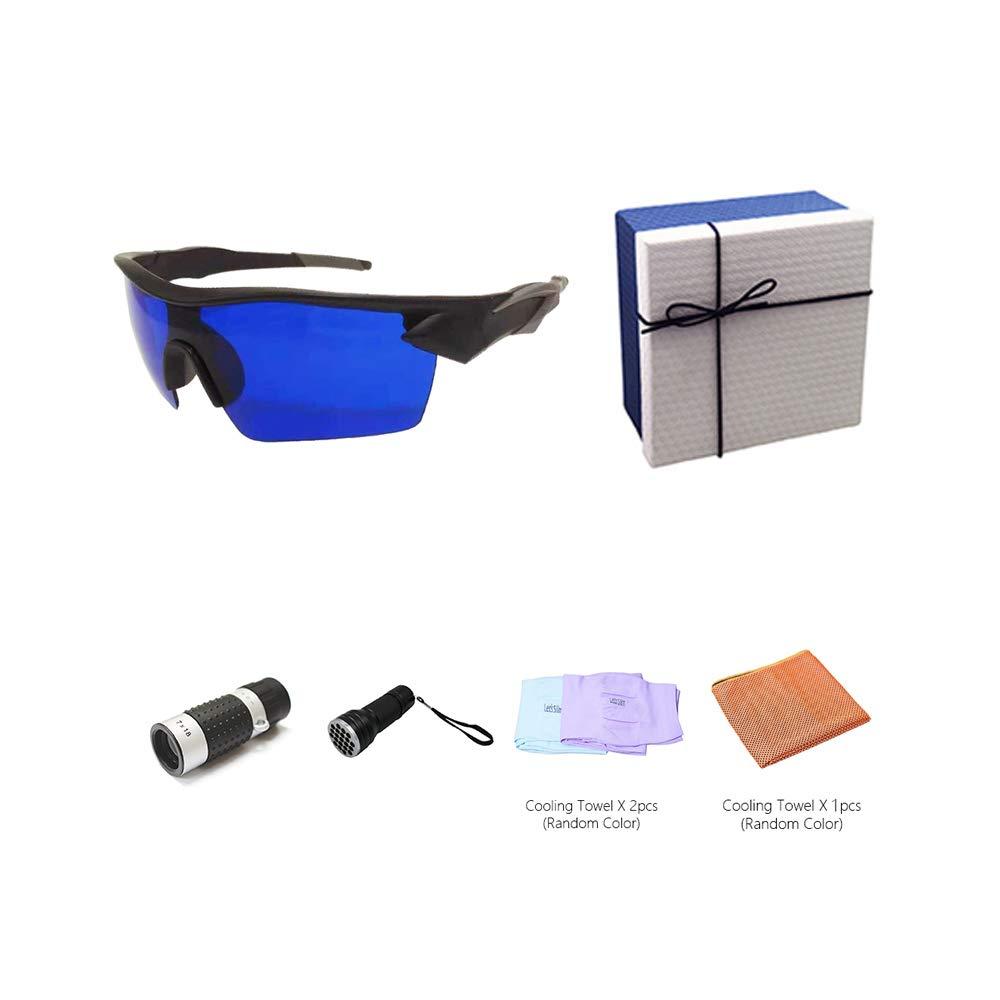 POSMA GS-SGG070B Golfballfinderbrille Retriever Geschenkset inkl. 7X18 Golf LED Range Finder 21 LED Golf UV Golf Ball Finder Taschenlampe Kühlhandtuch Armmanschetten in eleganter Geschenkbox fd5265