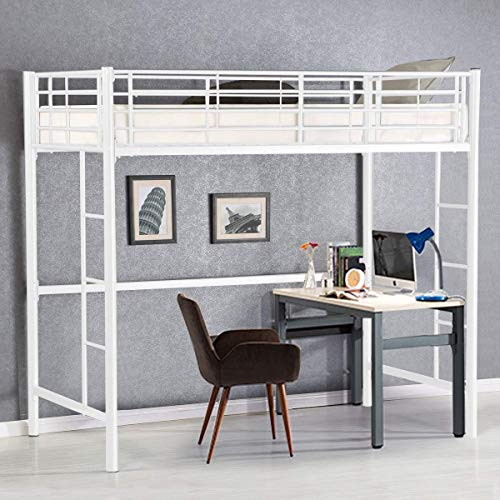 Costzon Twin Metal Loft Bed, Metal Bunk Bed with Ladders Guard Rail for Boys & Girls Teens Kids Bedroom Dorm (White)