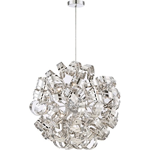 Quoizel RBN2831CRC Ribbons Curved Metal Foyer Pendant Ceiling Lighting, 12-Light, Xenon 480 Watts, Crystal Chrome 31 H x 31 W