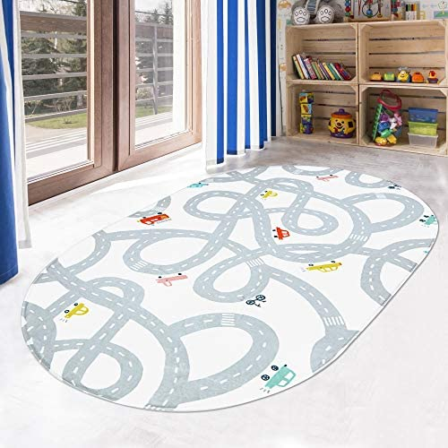 LIVEBOX Road Traffic Kids Play Mat, 3′ x 5′ Playroom Area Rug Soft Flannel Children Carpet Great for Educational & Fun with Cars and Toys Throw Rug for Living Room Bedroom Nursery Best Shower Gift