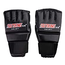 Boxing Gloves Delaman Adults Gym Gloves for Muay Thai Training Punching Bag Half Mitts Sparring Boxing
