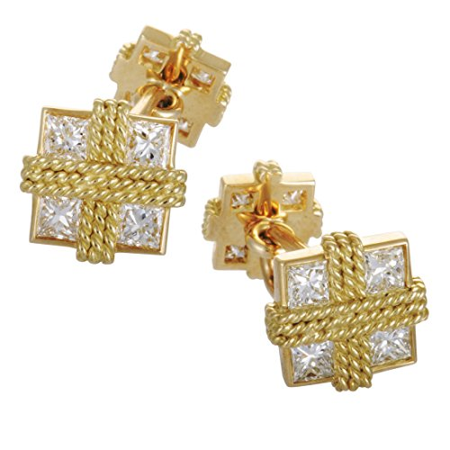 Van Cleef & Arpels Vintage 18K Yellow Gold Diamond Filigree Square Cufflinks - 18k Diamond Cufflinks