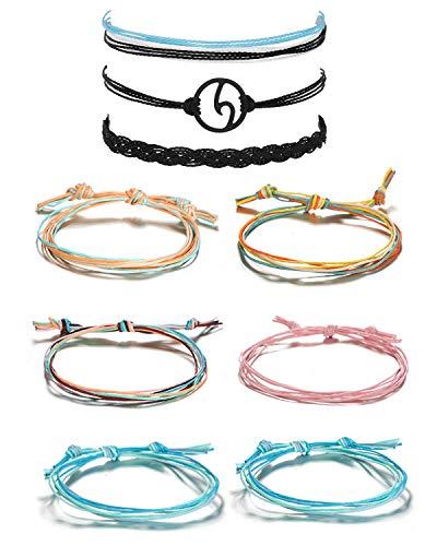 - Long tiantian 2 Pcs Summer Surfer Wave Anklet Bracelet for Woman,Adjustable Waterproof Ocean Wave Braided Rope String Bracelet Set (H-2SET)