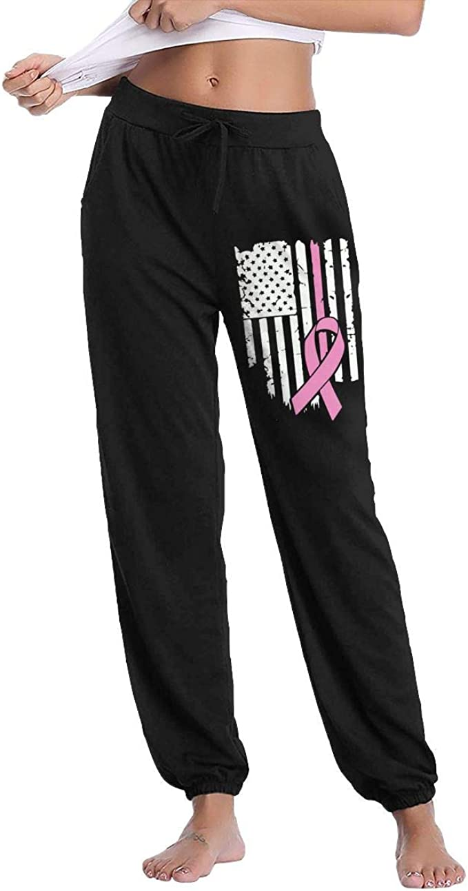 YOOJPC-6 Womens Pink Ribbon Breast Cancer Awareness Flag Sweatpants with Pockets Soft Pants