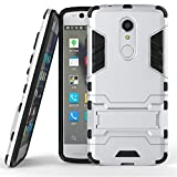 ZTE Axon 7 mini Case,Gift_Source [Kickstand] Hybrid Dual Layer Armor Defender Full Body Protective Case Soft TPU and Hard PC Rugged Case Shockproof Cover For ZTE Axon 7 mini [Silver]