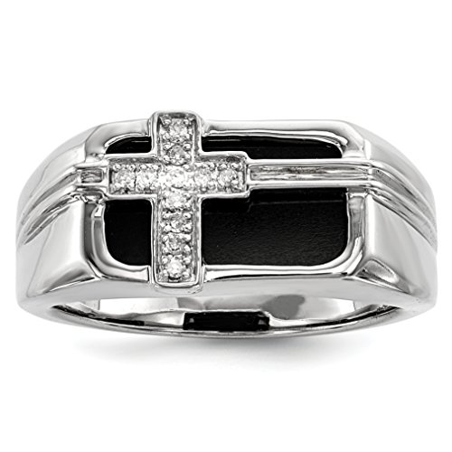 ICE CARATS 925 Sterling Silver Diamond Black Onyx Cross Religious Mens Band Ring Size 10.00 Man Fine Jewelry Dad Mens Gift Set by ICE CARATS (Image #2)