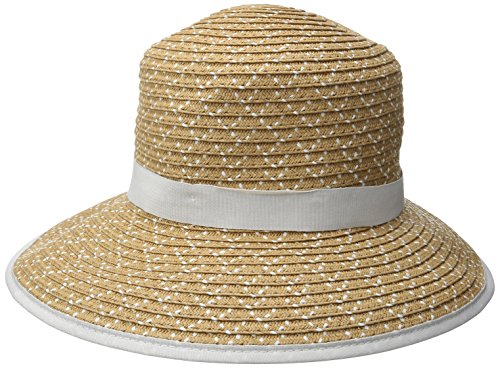 Physician Endorsed Women's Pitch Perfect Straw Sun Hat, Rated UPF 50+ for Max Sun Protection, Natural/White, One Size