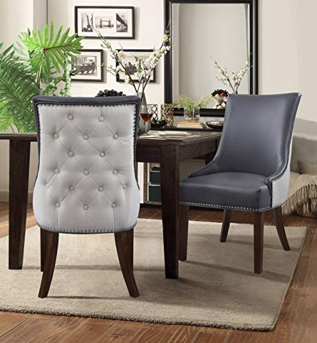 Iconic Home FDC2988-AN Brando Dining Side Accent Chair Pebble Grain PU Leather Linen Upholstered Nailhead Trim Tapered Solid Birch Legs Modern Transitional Set of 2, Grey ()