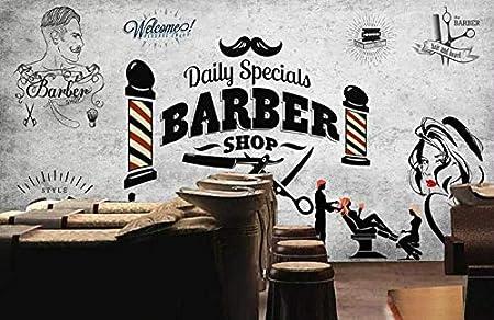 Keshj R/étro Salon De Coiffure Fond Papier Peint Mural Pour La Coiffure Barber Shop Fond D/écoration Murale Fonds D/Écran Modernes 3D/-300Cmx210Cm