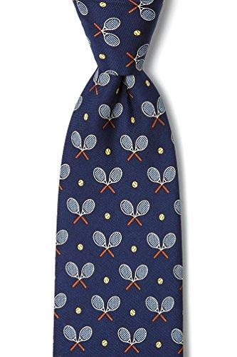 Navy Blue Silk Tie | Tennis Racquets Necktie (Novelty Ties Alynn Blue Silk)