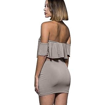 bodycon Vestidos de mujer Casual Sexy Off Shoulder Elegante falda de fiesta Conjuntos Hasta la rodilla de cintura alta Clubwear Ruffles Top para damas: ...