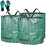 Professional 3-Pack 106 Gallons Garden Bag with Coated Gardening Gloves - XXXXX Large Reusable Leaf Bags - Comparative-Winner 2018 - Yard Bag Gardening Containers,Lawn and Yard Waste Can - 4 Handles