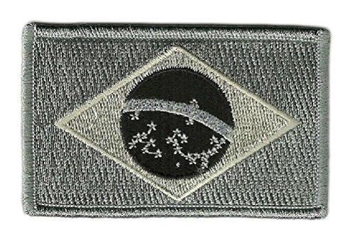 Ovedcray Embroidery Patch 2pcs Urban Black/Gray Brazilian Brasil Brazil Flag Patch W/Hook Fastener