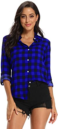 Aeslech Camisa de cuadros ligera para mujer, blusa clásica con botones y mangas enrollables