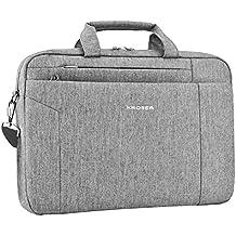 KROSER Laptop Bag Briefcase Shoulder Messenger Bag Water Repellent Laptop Bag Satchel Tablet Bussiness Carrying Handbag Laptop Sleeve for Women and Men 15.6 Inch-Grey