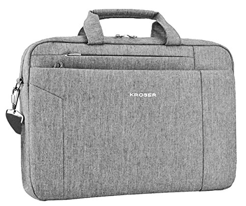 KROSER Laptop Bag Briefcase Shoulder Messenger Bag Water Repellent Laptop Bag Satchel Tablet Bussiness Carrying Handbag Laptop Sleeve for Women and Men 15.6 Inch-Grey