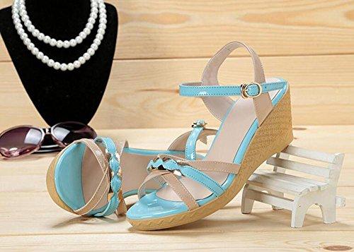 Parteischuhe L@YC Frauen Pisten und Sommer Dicke Leder High Heels Farbe Freundliche Sandalen , blue , 35