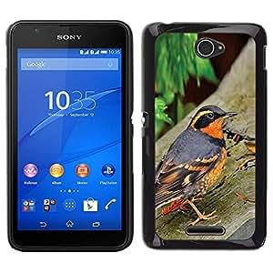 EJOY---Cubierta de la caja de protección para la piel dura ** Sony Xperia E4 ** --primavera árboles naturaleza de aves de naranja verano