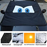 Voodonala Windshield Cover for Ice and Snow Waterproof Frost Protector Windshield Sunshade Magnetic Eyes for Car Honda Nissan Toyota SUV Jeep