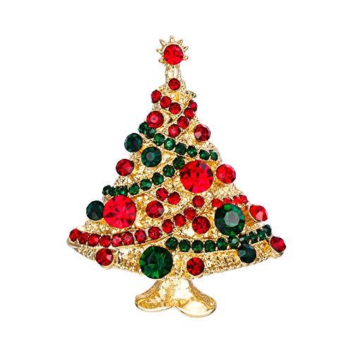 EVER FAITH Streamer Star Christmas Tree Brooch Pin Green w/Red Austrian Crystal