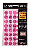 Sunburst Systems 7035, Pink, Garage Sale Preprinted Price Stickers, 1000 Count