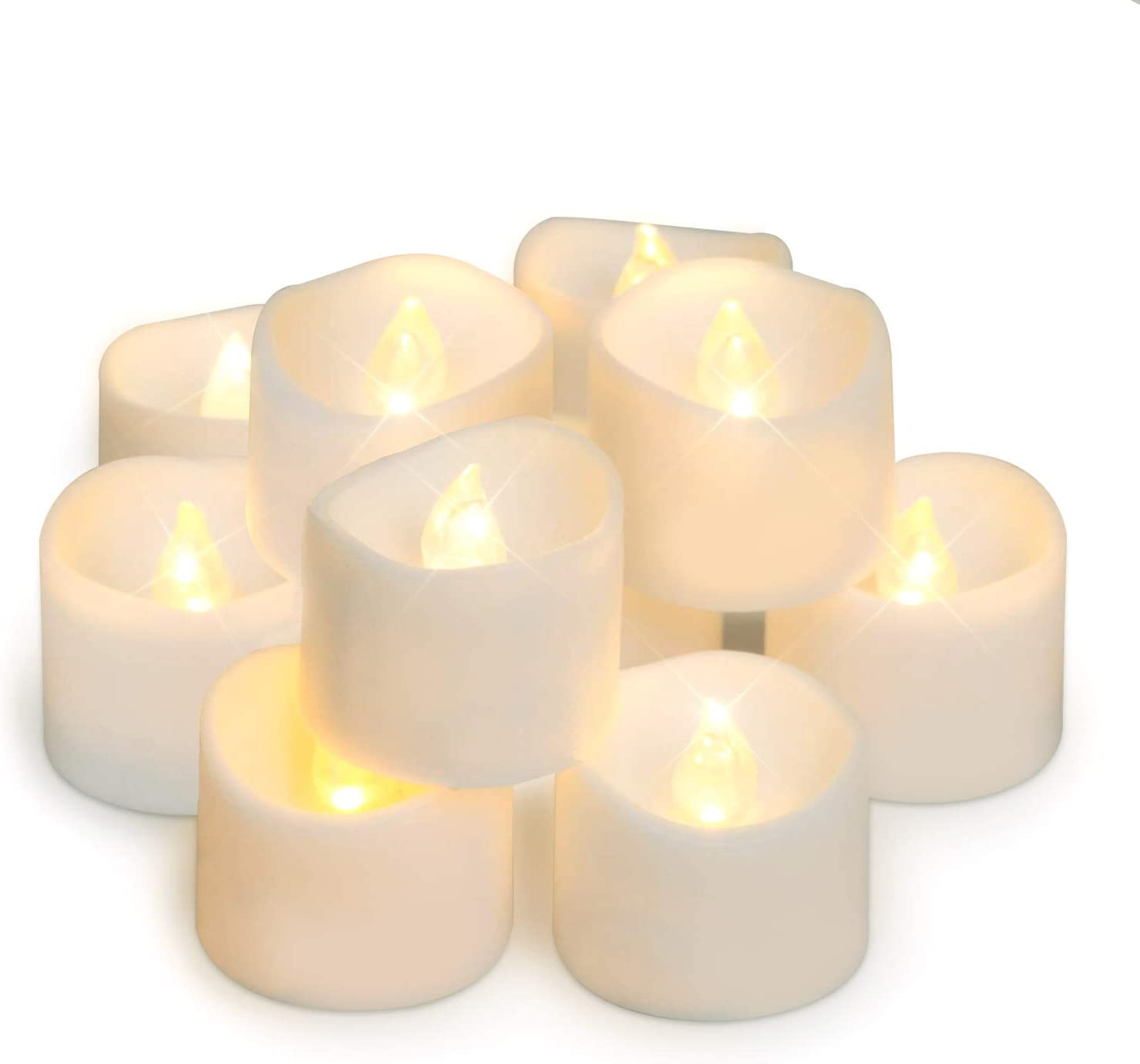 Amagic 48 Pack Flameless Tea Lights, Battery Operated LED TeaLight Candles for Mothers Day Gifts, Warm White, Flickering, D1.4'' H1.25''