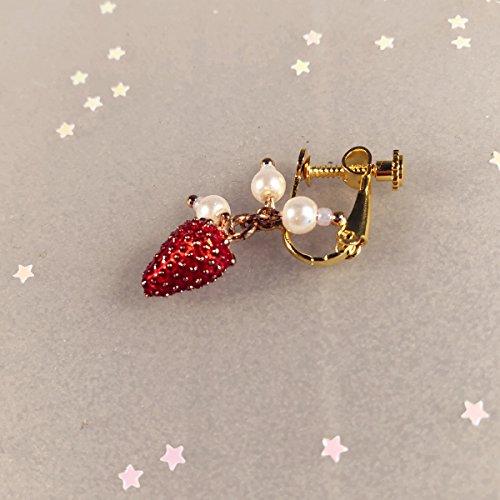 usongs Custom soft sister cute strawberry sweet package 14K gold earrings ear clip ear clip