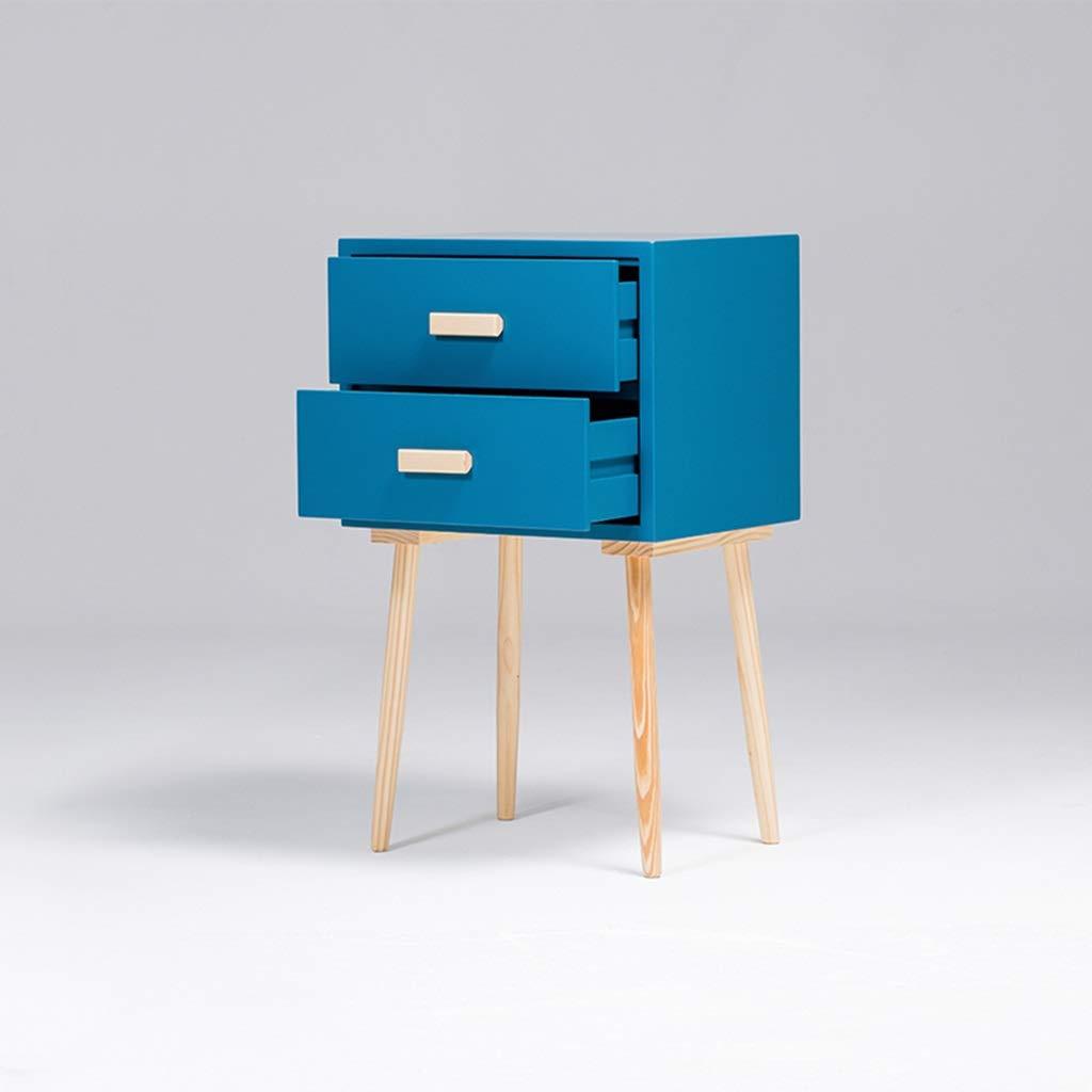 Massivholz Nachttisch Nachttisch, Stark Und Langlebig, Schwere Belastbarkeit, Geeignet for Schlafzimmer Wohnzimmer, Etc. LYLQQQ (Color : Blue)