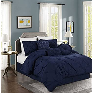 Chezmoi Collection Sydney 7-piece Pintuck Bedding Comforter Set (Queen, Navy)