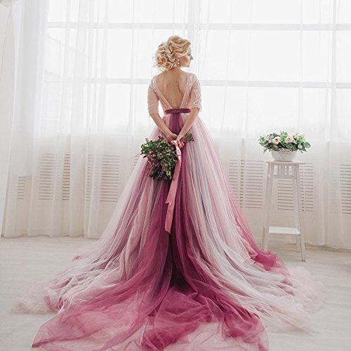 Chupeng Demi-manches En Dentelle Robe De Mariée De Mariage Des Femmes V-retour Robe De Bal Bouffi Robe De Bal 2018 Comme Image