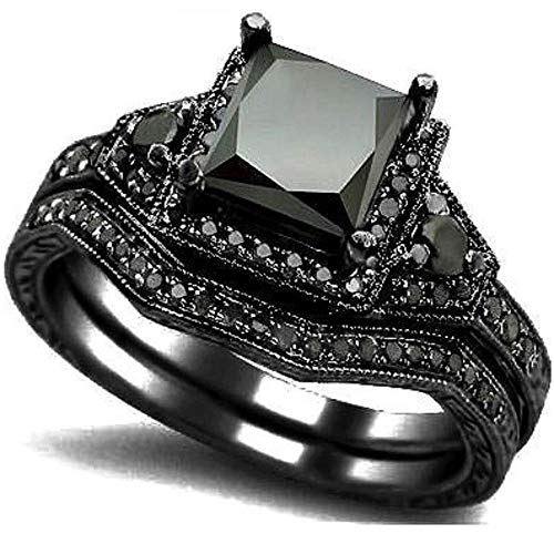 Kingray Jewelry Black Onyx Princess Cut Anniversary Wedding Bridal Ring Set (Black, 7)