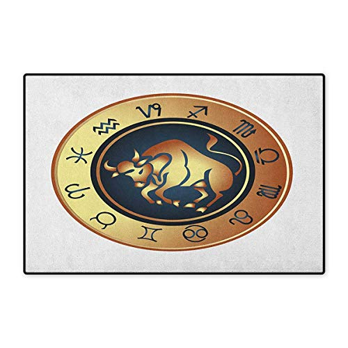 Zodiac Taurus,Door Mat for Tub,Circle with Twelve Signs Bull Icon in The Middle Future Cosmos,Customize Door Mat with Non Slip Backing,Pale Brown Yellow Indigo,Size,16x24 (W40cm x L60cm)