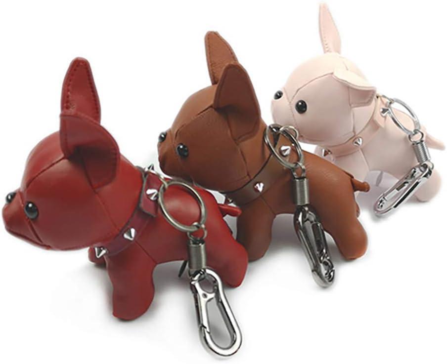 Joyas para Llaves llaveros Talla /única 2# Animales Minions Boutique Llavero con dise/ño de Bulldog franc/és para Mujeres y Hombres Cute PU Dog para Parejas