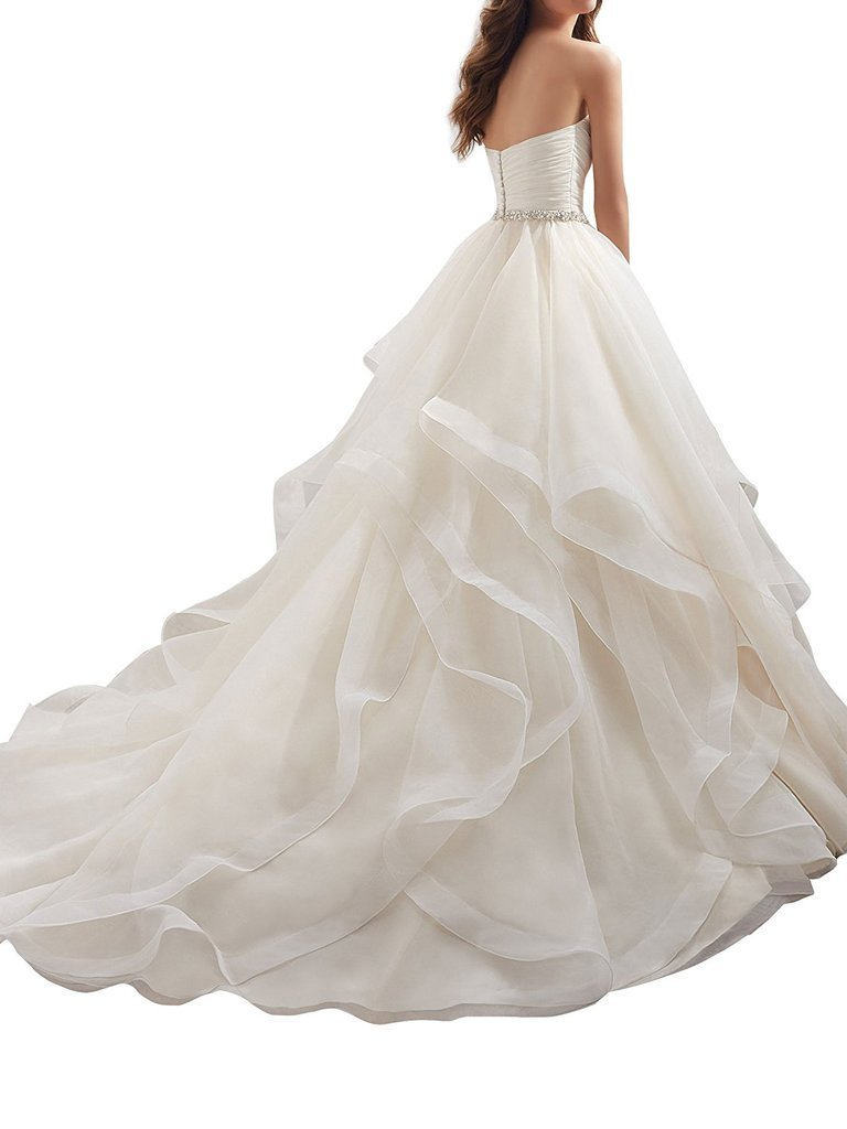 APXPF Women's Organza Ruffles Ball Gown Wedding Dresses Bride Dress White US2 by APXPF (Image #2)