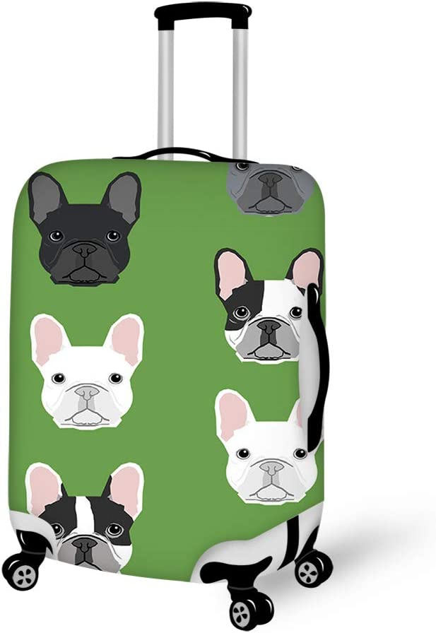 Green Frenchie Dog Washable Foldable Luggage Cover Protector Fits 18-21Inch Suitcase Covers