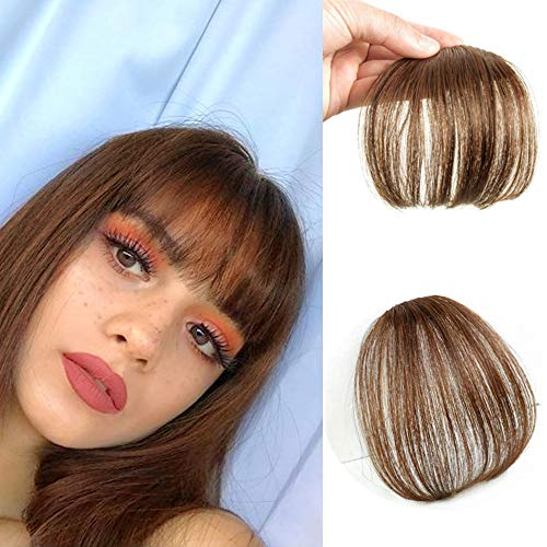 Komorebi Flat Bangs Human Hair Wispy Bangs Clip in Fringes Hair Extensions Flat Bangs Thin Hair Bangs Clip on Real Hair(Air Bangs Without Temples,#6 Light Brown)