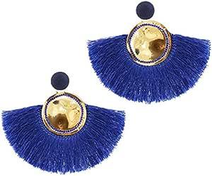 Magnetin Women Fashion Earrings European Style Temperament Tassel Earrings Anti-Allergy Earrings Foreign Trade Jewelry, Blue